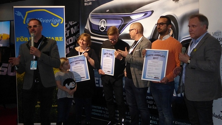 2017 års vinnare i kategorierna Årets Elbilsförare, Årets Elbil och Årets Laddplats.