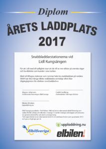 Lidl Kungsängen är vann kategorin Årets Laddplats 2017.