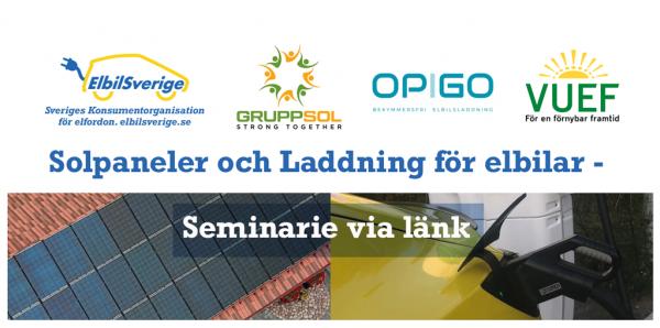 Solpaneler och Laddning för elbilar - Seminarie via länk
