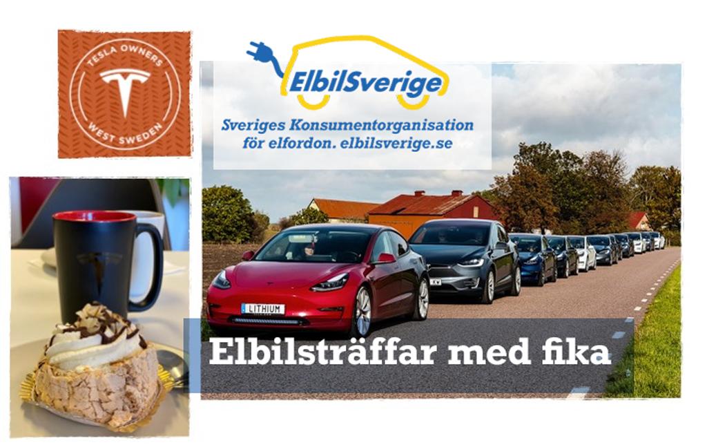Elbilsträffar med Fika Elbil Sverige/Tesla West Sweden