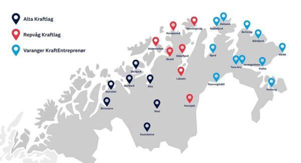 Laddkarta över nordligaste Norge