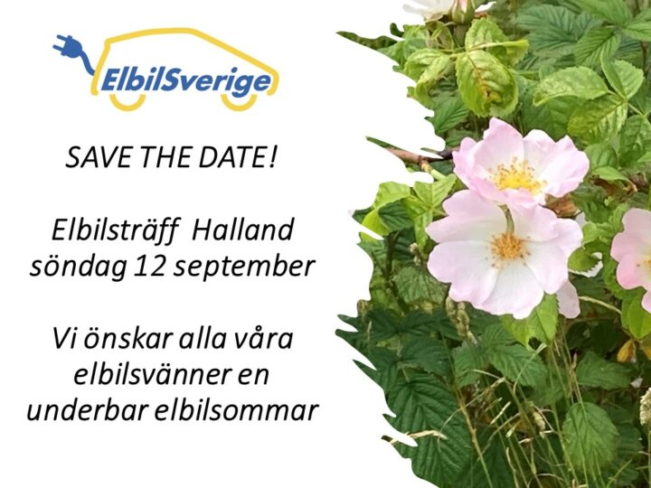 Elbilsträff 12 september i hjärtat av Halland